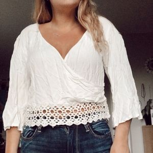 Lace bell sleeves white crop top